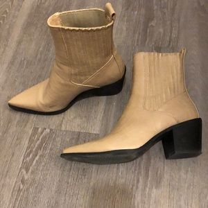 Beige cowboy ankle  boot